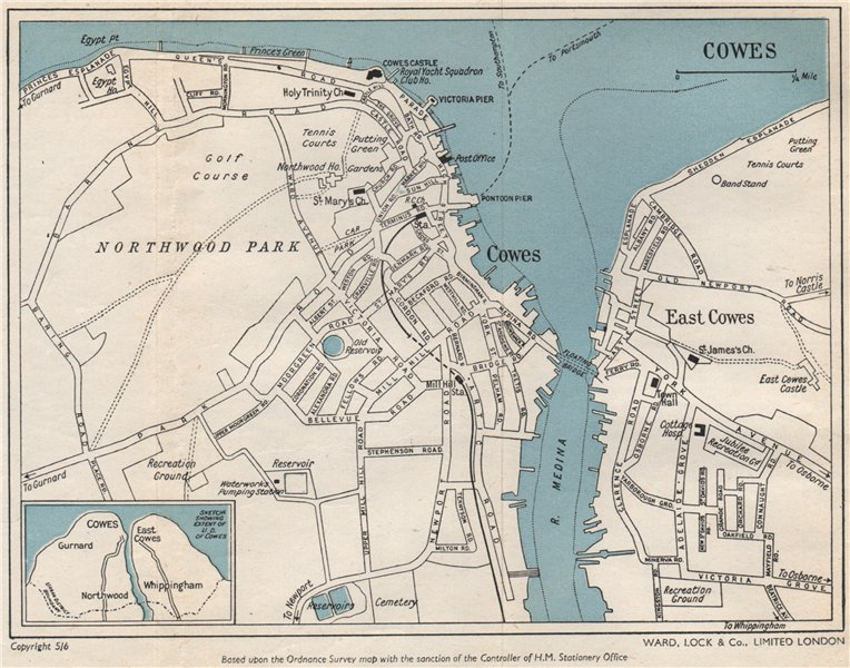 Associate Product COWES vintage town/city plan. Isle of Wight. WARD LOCK 1950 old vintage map