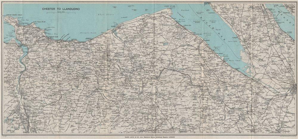 Associate Product NORTH WALES COAST. Chester-Llandudno. Denbigh Rhyl Deeside. WARD LOCK 1925 map