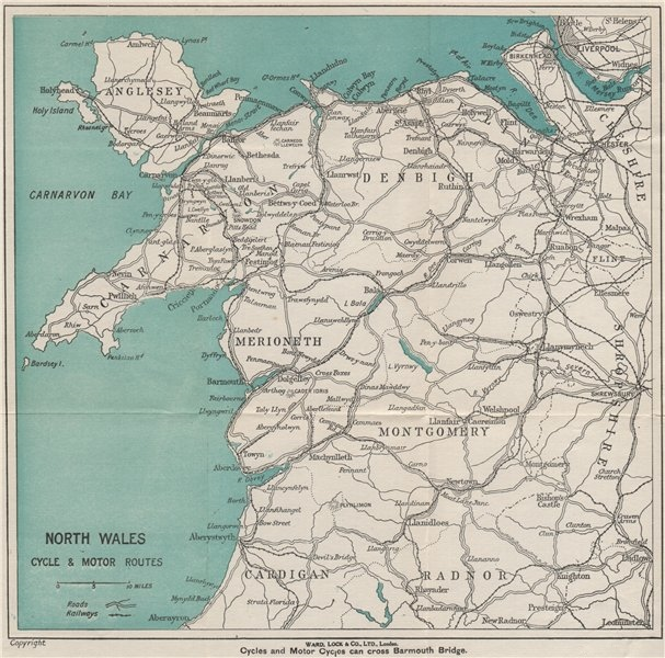Associate Product NORTH WALES CYCLE & MOTOR ROUTES. Railways. WARD LOCK 1925 old vintage map