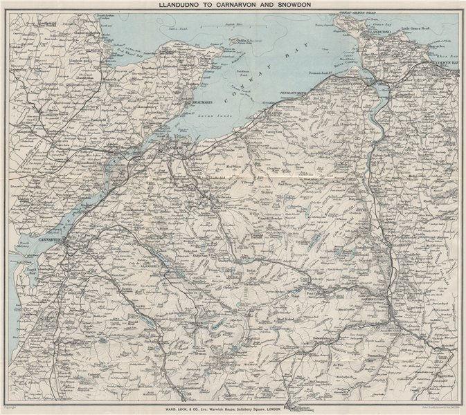 NW WALES. Llandudno Caernarvon Snowdonia Anglesey Bangor. WARD LOCK 1925 map
