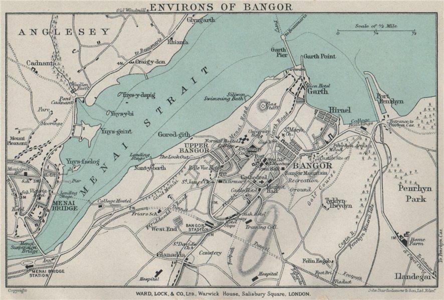 Associate Product BANGOR vintage town/city plan. Menai Bridge. Wales. WARD LOCK 1925 old map