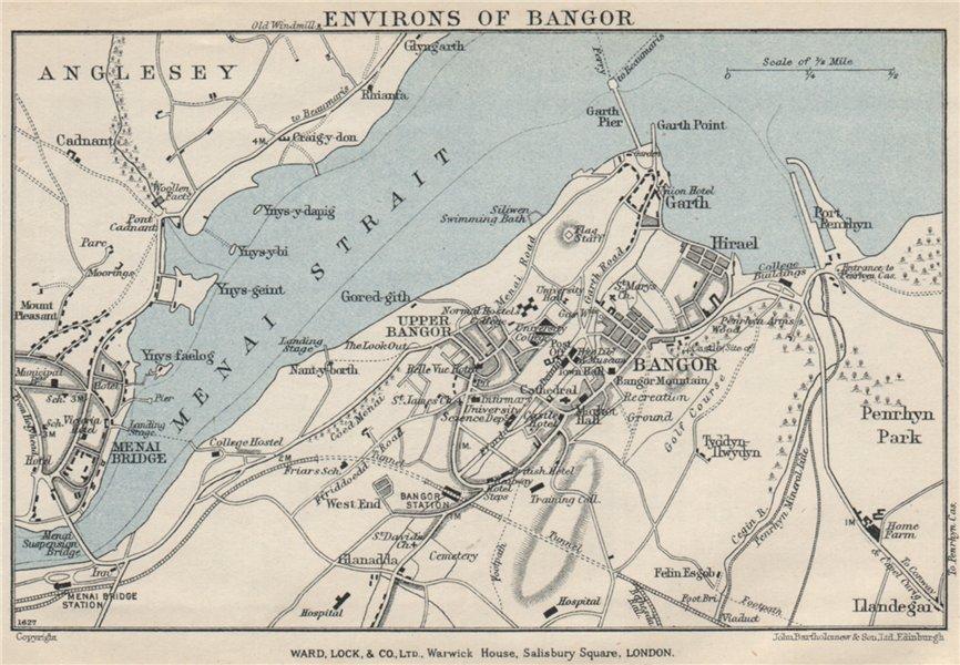Associate Product BANGOR vintage town/city plan. Menai Bridge. Wales. WARD LOCK 1930 old map
