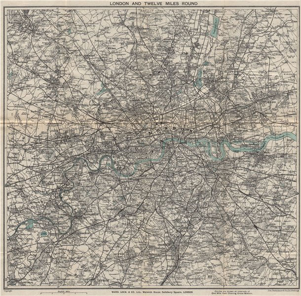 Associate Product 'LONDON AND TWELVE MILES ROUND'. Greater London. WARD LOCK 1925 old map
