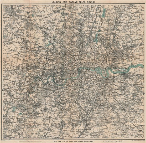 Associate Product 'LONDON AND TWELVE MILES ROUND'. Greater London. WARD LOCK 1927 old map