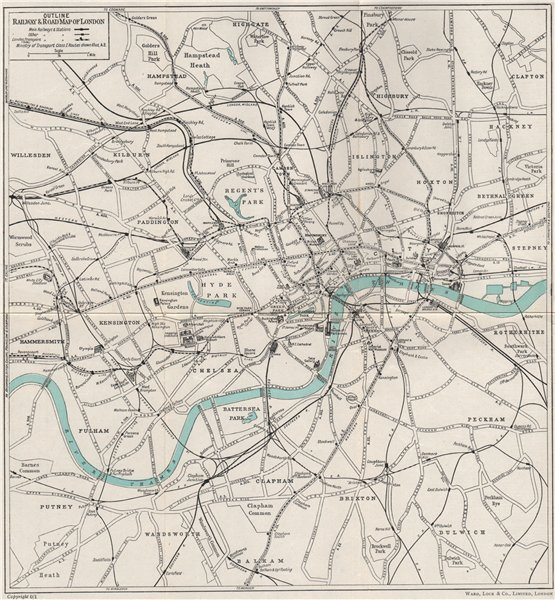 Associate Product CENTRAL LONDON RAILWAY & ROAD MAP. Underground tube. WARD LOCK 1951 old