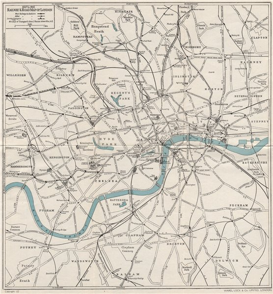 Associate Product CENTRAL LONDON RAILWAY & ROAD MAP. Tube underground. WARD LOCK 1951 old