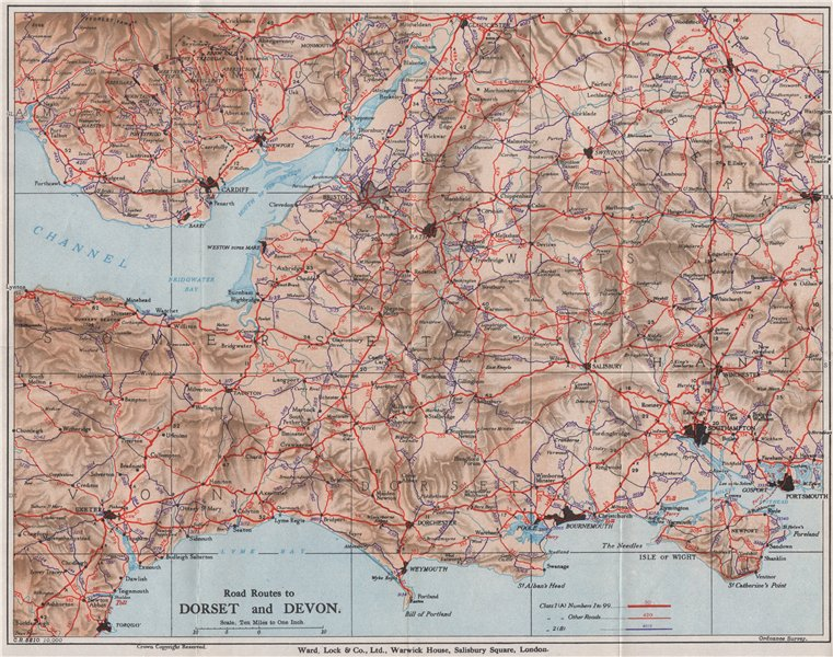 Associate Product ROAD ROUTES TO DORSET & DEVON. Pre-motorways. South West England 1938 old map