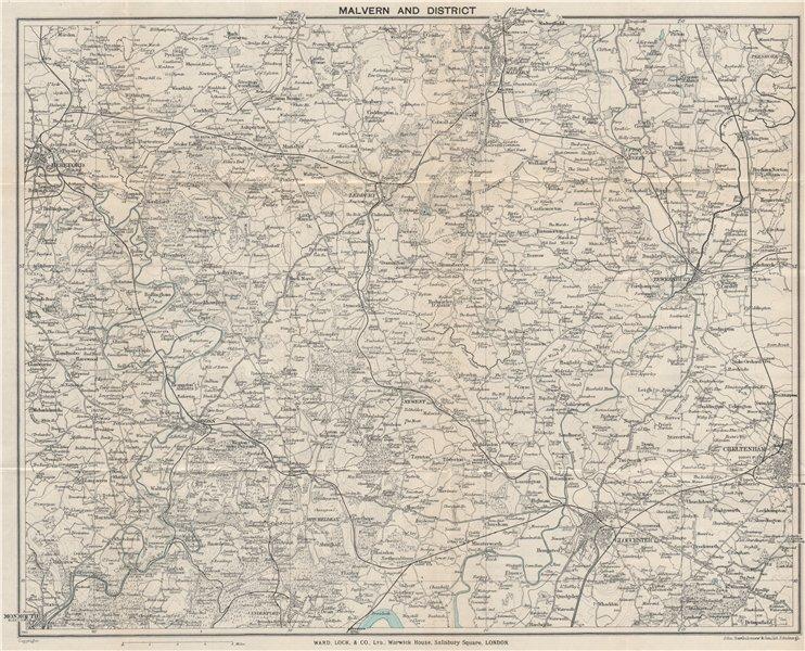 Associate Product MALVERN HILLS area. Wye Valley Hereford Gloucester Cheltenham Ledbury 1928 map