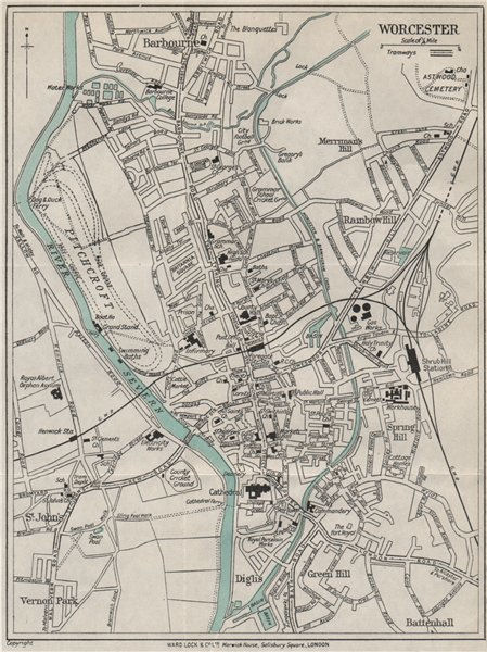 Associate Product WORCESTER vintage town/city plan. Worcestershire. WARD LOCK 1928 old map