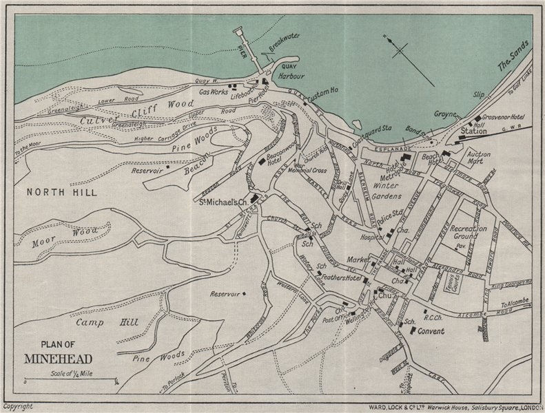 Associate Product MINEHEAD vintage town/city plan. Somerset. WARD LOCK 1934 old vintage map