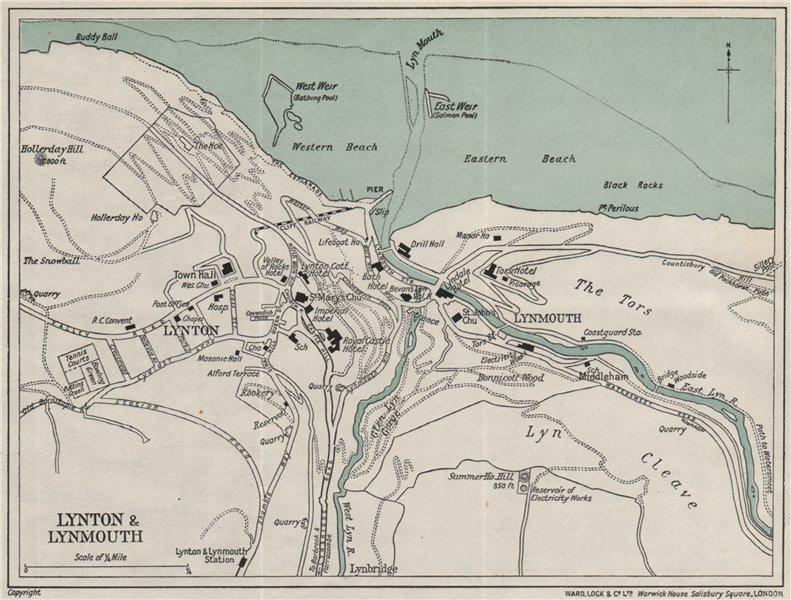 LYNTON & LYNMOUTH vintage town/city plan. Devon. WARD LOCK 1934 old map
