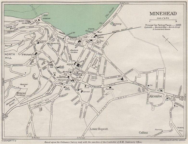 MINEHEAD vintage town/city plan. Somerset. WARD LOCK 1948 old vintage map