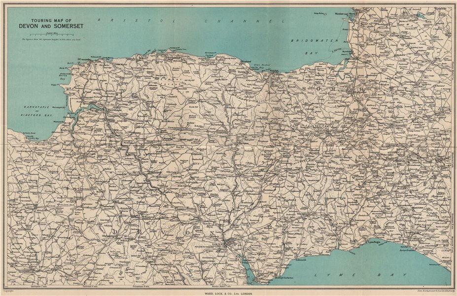 1948 World Map.Touring Map Of Devon Somerset South West England Ward Lock 1948