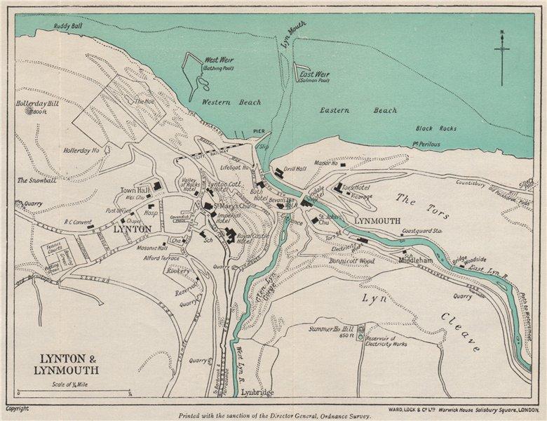 Associate Product LYNTON & LYNMOUTH vintage town/city plan. Devon. WARD LOCK 1948 old map