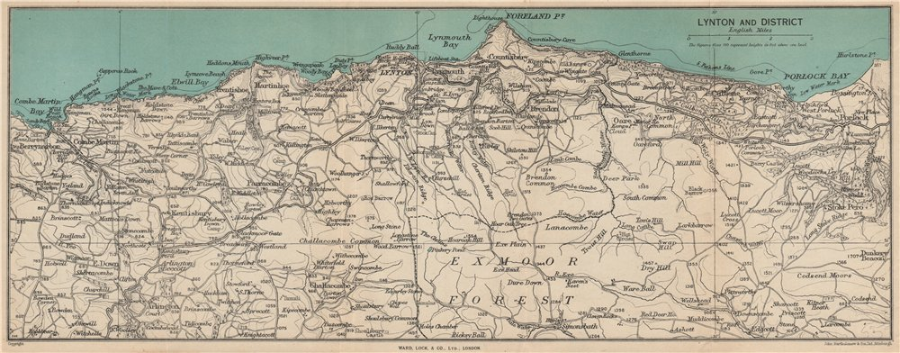 1948 World Map.Lynton Environs Exmoor North Devon Coast Ward Lock 1948 Old
