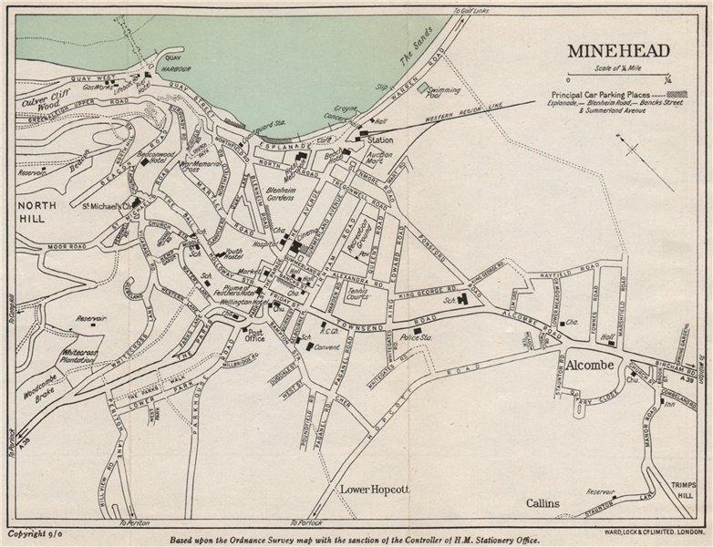 Associate Product MINEHEAD vintage town/city plan. Somerset. WARD LOCK 1951 old vintage map