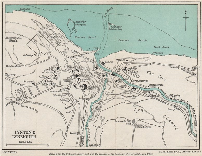 Associate Product LYNTON & LYNMOUTH vintage town/city plan. Devon. WARD LOCK 1951 old map
