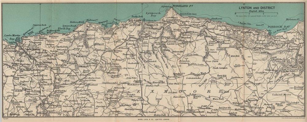 Associate Product LYNTON environs. Exmoor. North Devon coast. WARD LOCK 1951 old vintage map