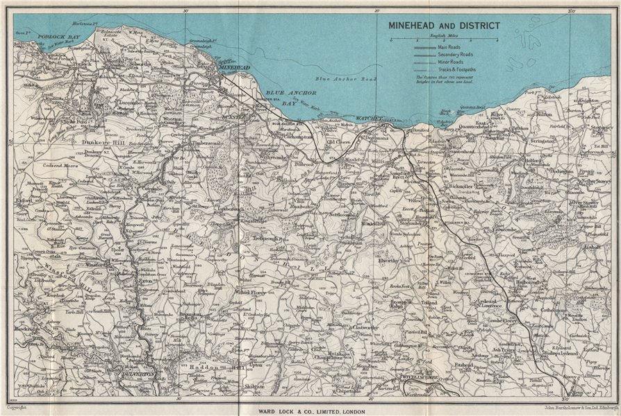 Associate Product MINEHEAD environs. Exmoor Dunster Dulverton Watchet Somerset. WARD LOCK 1954 map