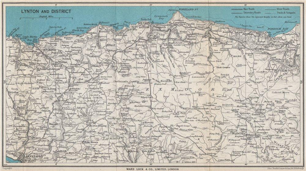 Associate Product LYNTON environs. Exmoor. North Devon coast. WARD LOCK 1954 old vintage map