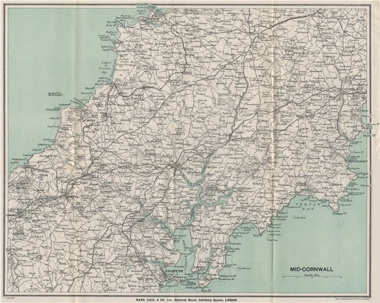 Associate Product MID-CORNWALL. Carrick Roads Truro Newquay Redruth Falmouth St Austell 1924 map