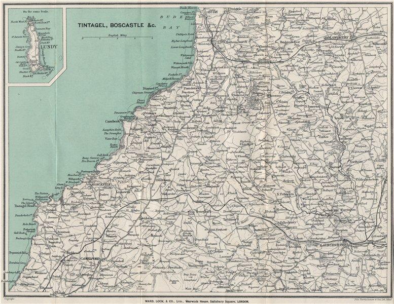 Associate Product WIDEMOUTH BAY-PENTIRE POINT COAST. Tintagel Boscastle Lundy Launceston 1924 map