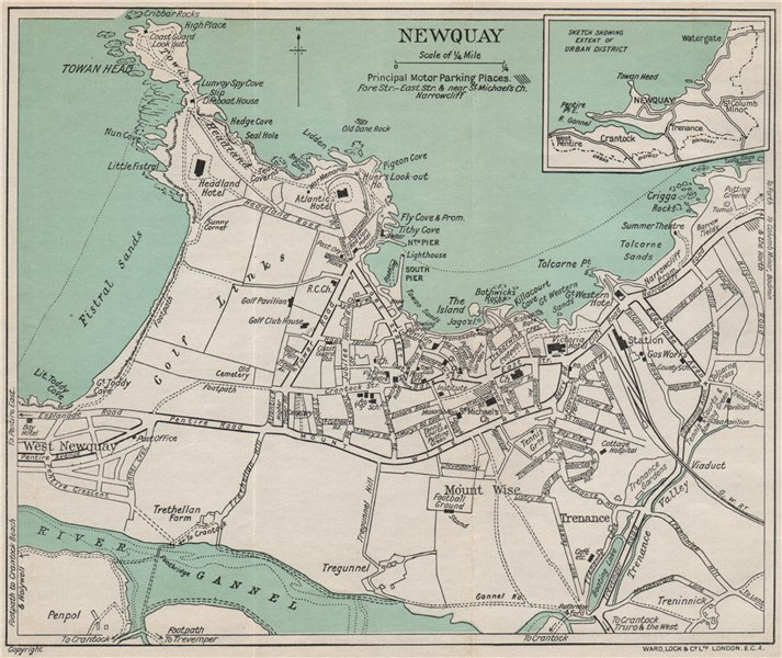 Associate Product NEWQUAY vintage town/city plan. Cornwall. WARD LOCK 1936 old vintage map chart