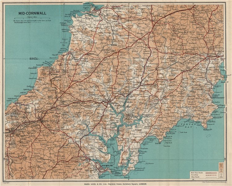 Associate Product MID-CORNWALL. Carrick Roads Truro Newquay Redruth Falmouth St Austell 1936 map