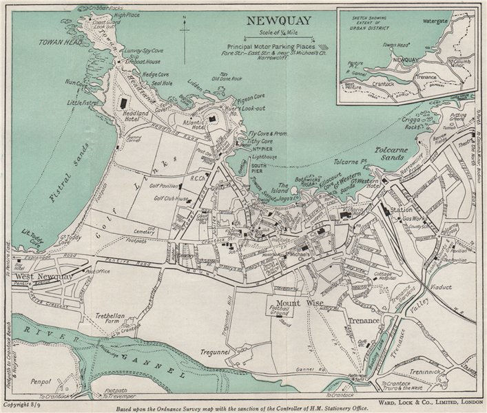 Associate Product NEWQUAY vintage town/city plan. Cornwall. WARD LOCK 1948 old vintage map chart