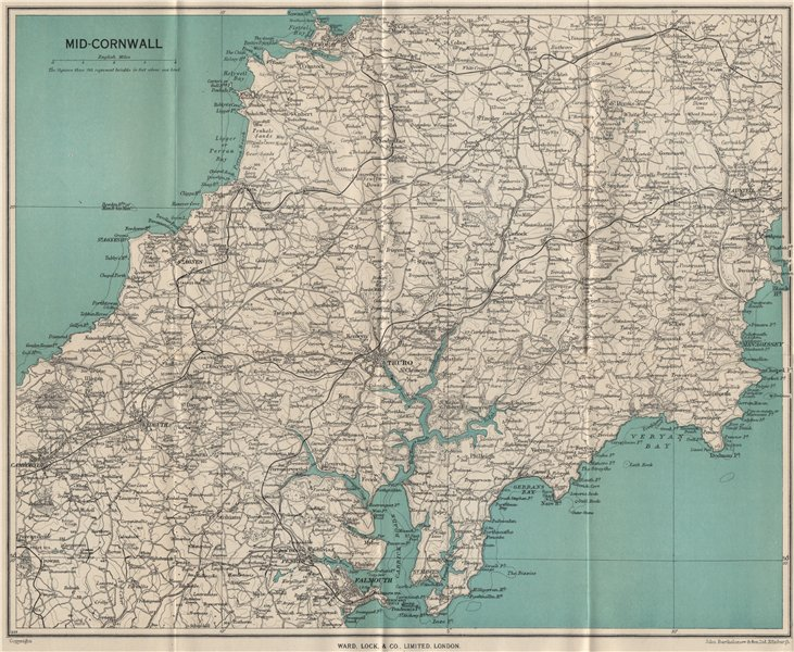 Associate Product MID-CORNWALL. Carrick Roads Truro Newquay Falmouth St Austell Redruth 1948 map