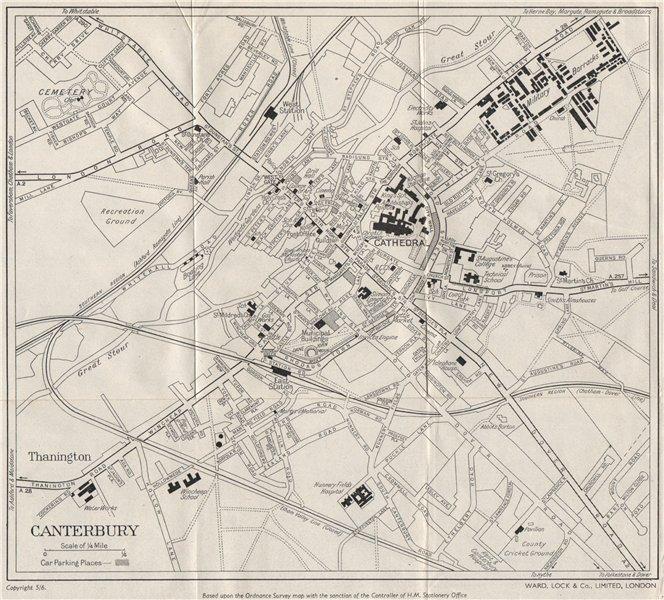 Associate Product CANTERBURY vintage town/city plan. Kent. WARD LOCK c1962 old vintage map chart