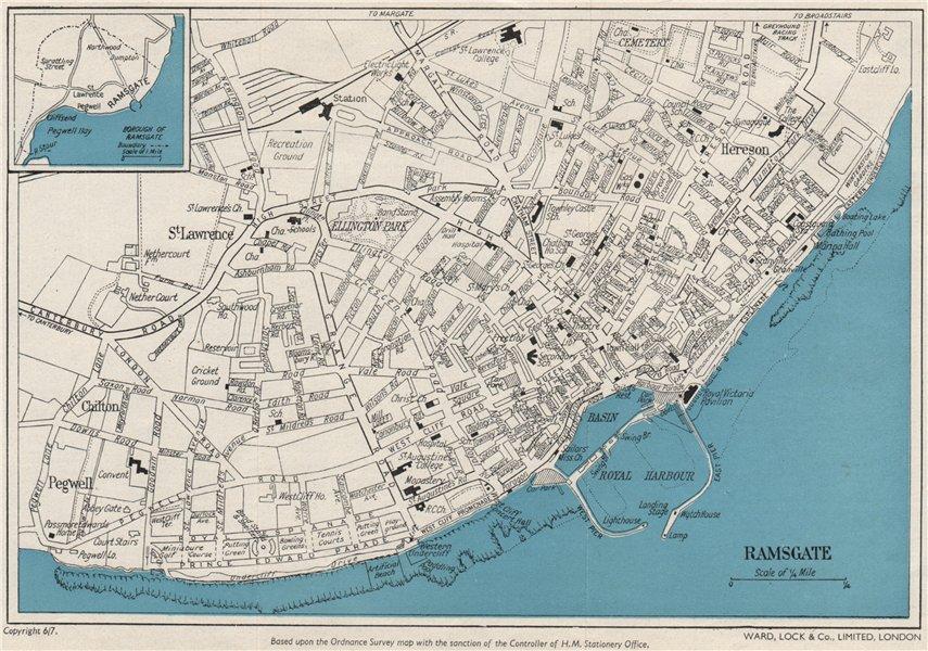 Associate Product RAMSGATE vintage town/city plan. Kent. WARD LOCK c1962 old vintage map chart