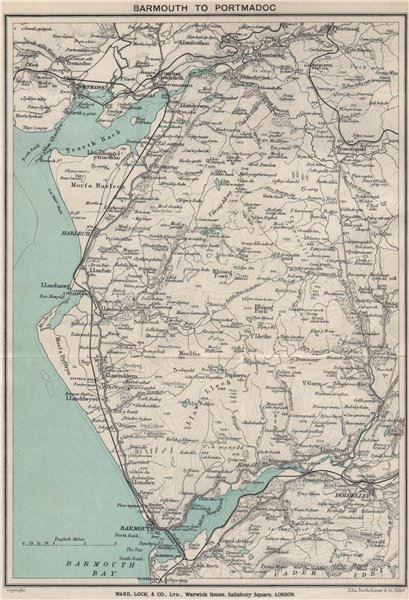 Associate Product SNOWDONIA COAST. Barmouth-Porthmadog. Ffestiniog Dolgellau. WARD LOCK 1913 map