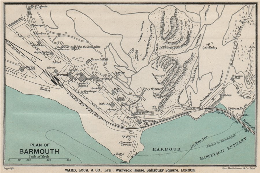 Associate Product BARMOUTH vintage town/city plan. Wales. WARD LOCK 1913 old antique map chart