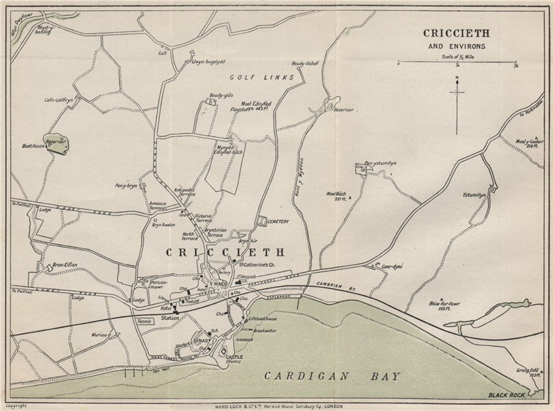 Associate Product CRICCIETH AND ENVIRONS vintage town/city plan. Wales. WARD LOCK 1913 old map