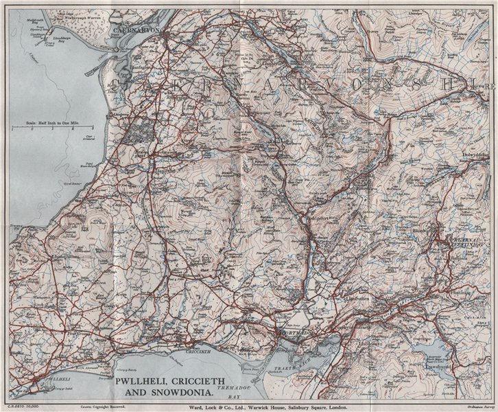 Associate Product SNOWDONIA NORTH. Pwllheli Criccieth Carnarvon Llanberis. WARD LOCK 1936 map