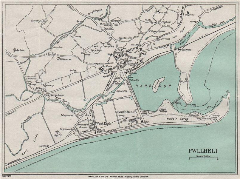 Associate Product PWLLHELI vintage town/city plan. Wales. WARD LOCK 1936 old vintage map chart