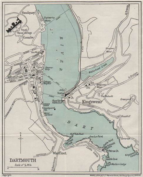 Associate Product DARTMOUTH vintage town/city plan. Devon. WARD LOCK 1932 old vintage map chart