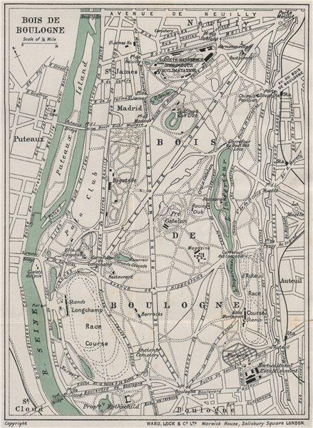 Associate Product BOIS DE BOULOGNE vintage plan. Paris. WARD LOCK 1911 old antique map chart