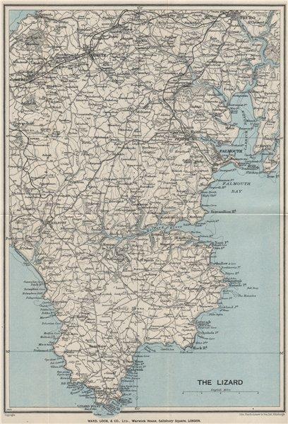 Associate Product THE LIZARD topo map. Helston Falmouth Helford River Cornwall. WARD LOCK 1930