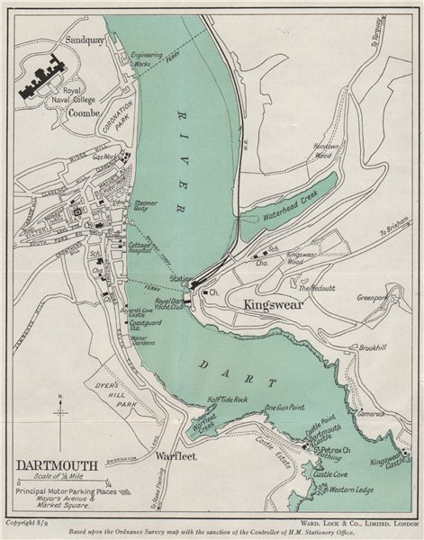 Associate Product DARTMOUTH vintage town/city plan. Devon. WARD LOCK 1948 old vintage map chart