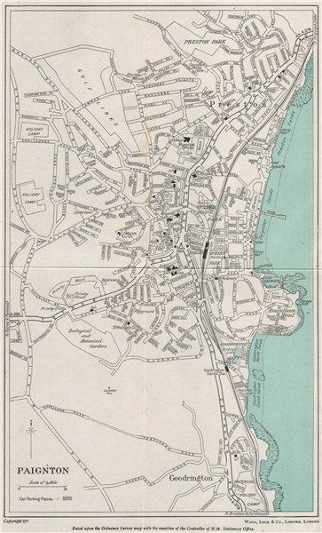 Associate Product PAIGNTON vintage town/city plan. Devon. WARD LOCK 1951 old vintage map chart