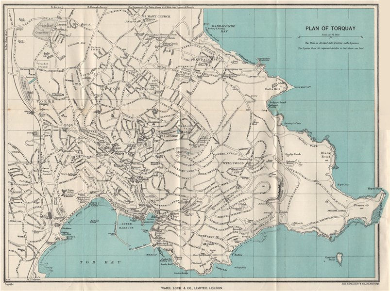 Associate Product TORQUAY vintage town/city plan. Devon. WARD LOCK 1951 old vintage map chart