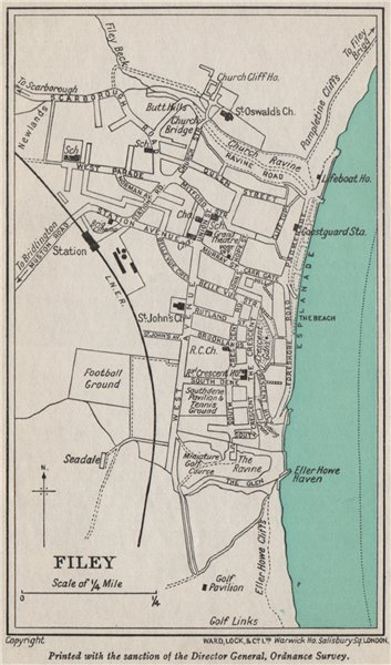 Associate Product FILEY vintage town/city plan. Yorkshire. WARD LOCK 1940 old vintage map chart