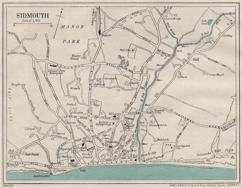 Associate Product SIDMOUTH vintage city town plan. Devon. WARD LOCK 1929 old vintage map chart