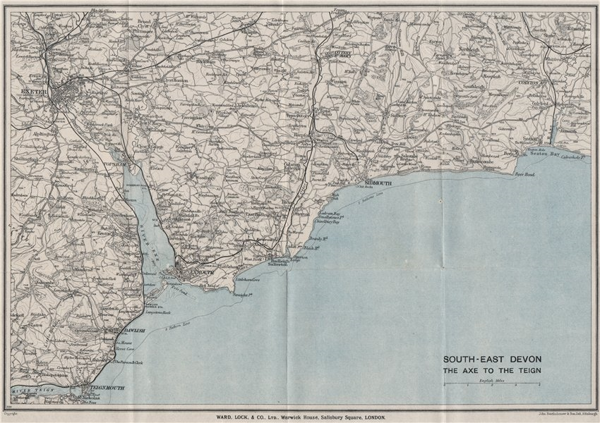 Associate Product EAST DEVON COAST. Teignmouth Exmouth Exeter Sidmouth Budleigh Salterton 1929 map