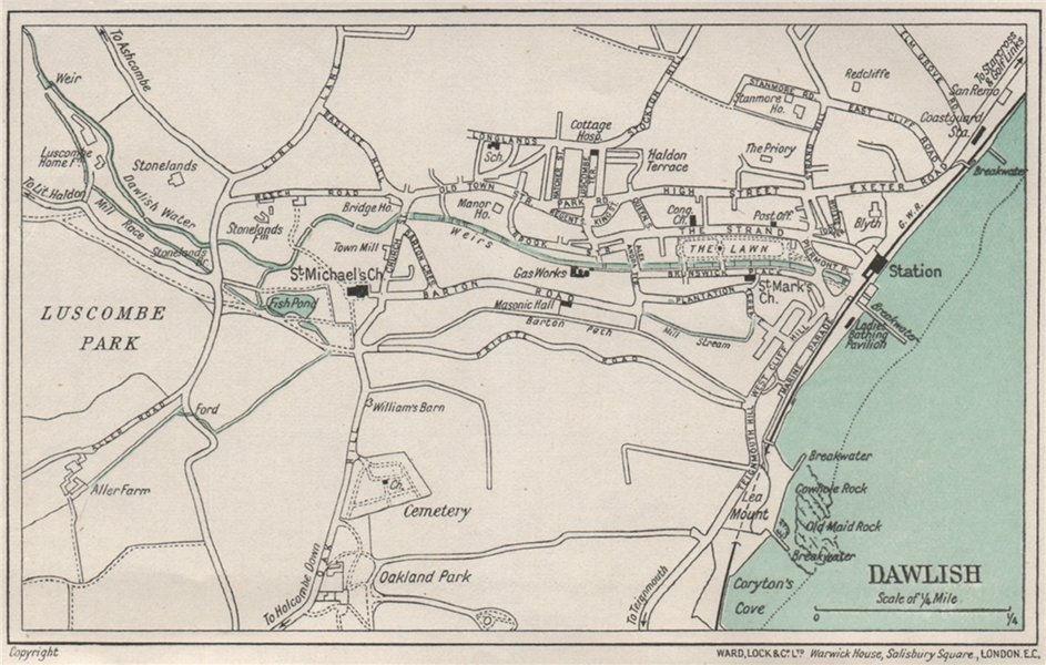 Associate Product DAWLISH vintage city town plan. Devon. WARD LOCK 1929 old vintage map chart