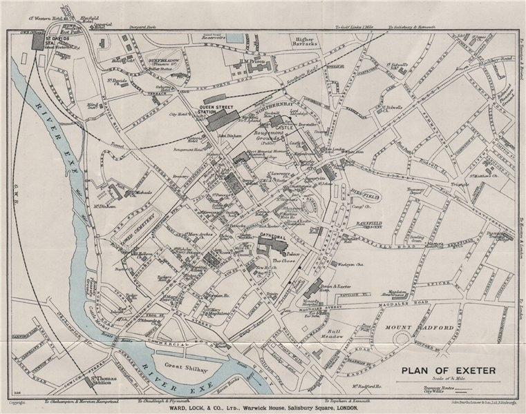 Associate Product EXETER vintage city town plan. Devon. WARD LOCK 1929 old vintage map chart