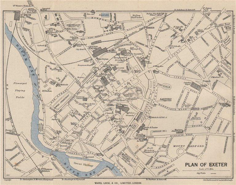 Associate Product EXETER vintage town/city plan. Devon. WARD LOCK 1948 old vintage map chart