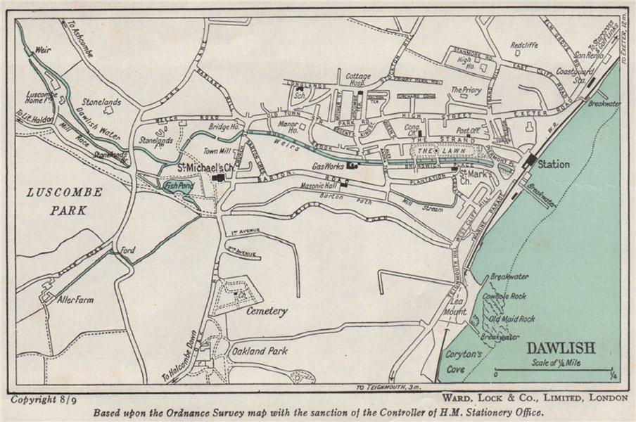 Associate Product DAWLISH vintage town/city plan. Devon. WARD LOCK 1948 old vintage map chart